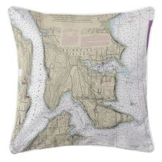 Bainbridge Island, Washington Nautical Chart Pillow