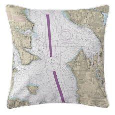 Seattle, Washington Nautical Chart Pillow