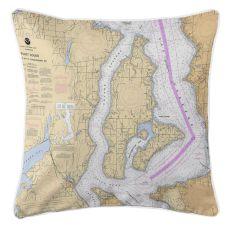 Vashon Island, Maury Island, Washington Nautical Chart Pillow