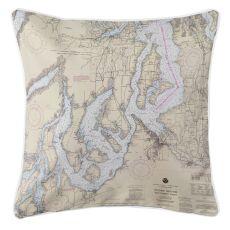 Puget Sound Southern, Washington Nautical Chart Pillow