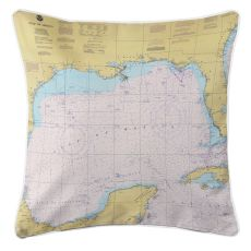 Gulf of Mexico Nautical Chart Pillow