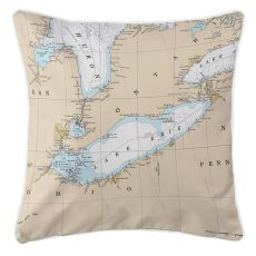 Great Lakes: Lake Erie Nautical Chart Pillow