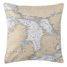 Great Lakes: Lake Huron Nautical Chart Pillow