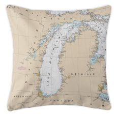 Great Lakes: Lake Michigan Nautical Chart Pillow