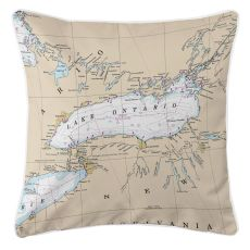 Great Lakes: Lake Ontario Nautical Chart Pillow