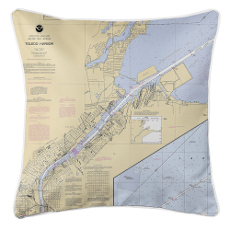 Toledo Harbor, Ohio Nautical Chart Pillow