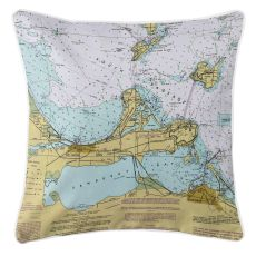 Port Clinton, Sandusky, Ohio Nautical Chart Pillow