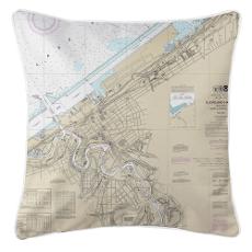 Cleveland Harbor, Ohio Nautical Chart Pillow