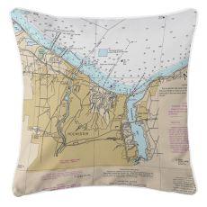 Rochester, New York Nautical Chart Pillow