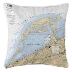 Erie Harbor, Pa Nautical Chart Pillow