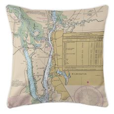 Wilmington, North Carolina Nautical Chart Pillow