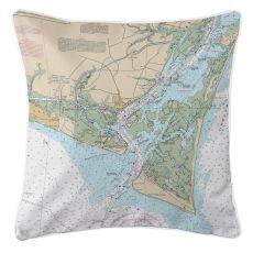 Oak Island, Southport, Bald Head Island, North Carolina Nautical Chart Pillow