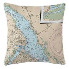 New Bern, North Carolina Nautical Chart Pillow