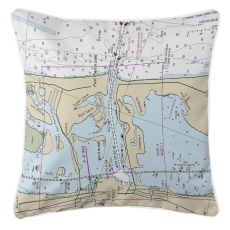 Fort Pierce Inlet, Florida Nautical Chart Pillow