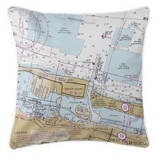 Lake Worth Inlet, Singer Island, Florida Nautical Chart Pillow