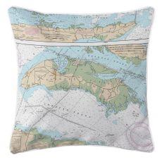 Roanoke Island, North Carolina Nautical Chart Pillow