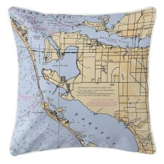 Bradenton, Florida Nautical Chart Pillow