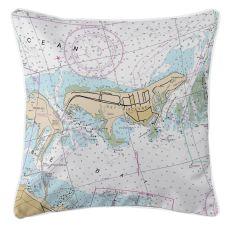 Key Biscayne, Florida Nautical Chart Pillow