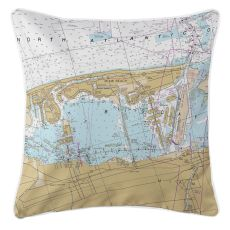 Miami Beach, Florida Nautical Chart Pillow