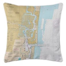 FL: Fort Lauderdale, FL Nautical Chart Pillow