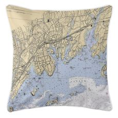Greenwich, Connecticut Nautical Chart Pillow