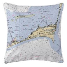Cape Hatteras, North Carolina Nautical Chart Pillow