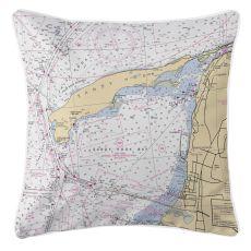 Sandy Hook, New Jersey Nautical Chart Pillow