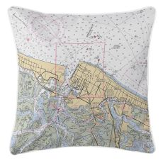 Atlantic City, New Jersey Nautical Chart Pillow