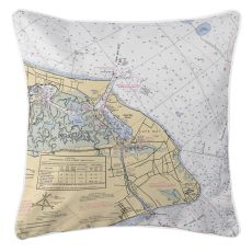 Cape May, New Jersey Nautical Chart Pillow