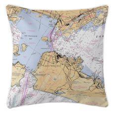 San Francisco, Oakland, California Nautical Chart Pillow