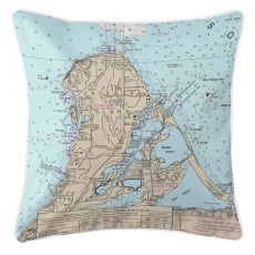 Catawba Island, Ohio Nautical Chart Pillow
