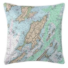 Chebeague Island, Maine Nautical Chart Pillow