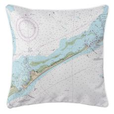 Ocracoke Island, North Carolina Nautical Chart Pillow