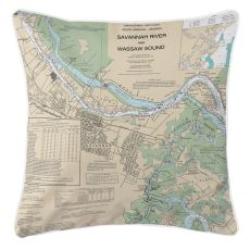 Savannah, Georgia Nautical Chart Pillow