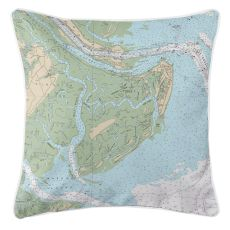Tybee Island, Georgia Nautical Chart Pillow