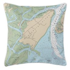 Daufuskie Island, South Carolina Nautical Chart Pillow