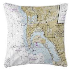 Ocean Beach, Coronado, CA Nautical Chart Pillow