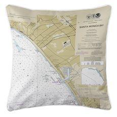 Santa Monica, Venice, Marina del Rey, CA Nautical Chart Pillow