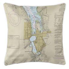 Olympia, WA Nautical Chart Pillow
