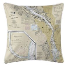 Portland South, OR Nautical Chart Pillow