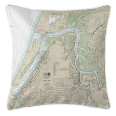 Coos Bay, OR Nautical Chart Pillow