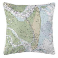 Jekyll Island, GA Nautical Chart Pillow