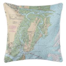 Saint Simons Island, Georgia Nautical Chart Pillow