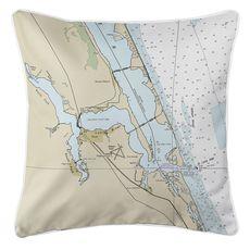 Jensen Beach, Stuart, FL Nautical Chart Pillow