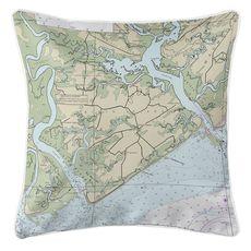 Edisto Island, SC Nautical Chart Pillow