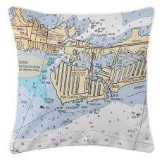 Key Colony Beach Marathon, Florida Nautical Chart Pillow