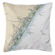 Wrightsville Beach, North Carolina Nautical Chart Pillow