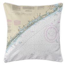 Topsail Island, North Carolina Nautical Chart Pillow