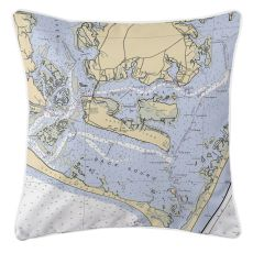 Harkers Island, North Carolina Nautical Chart Pillow
