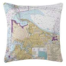 Norfolk, Virginia Nautical Chart Pillow
